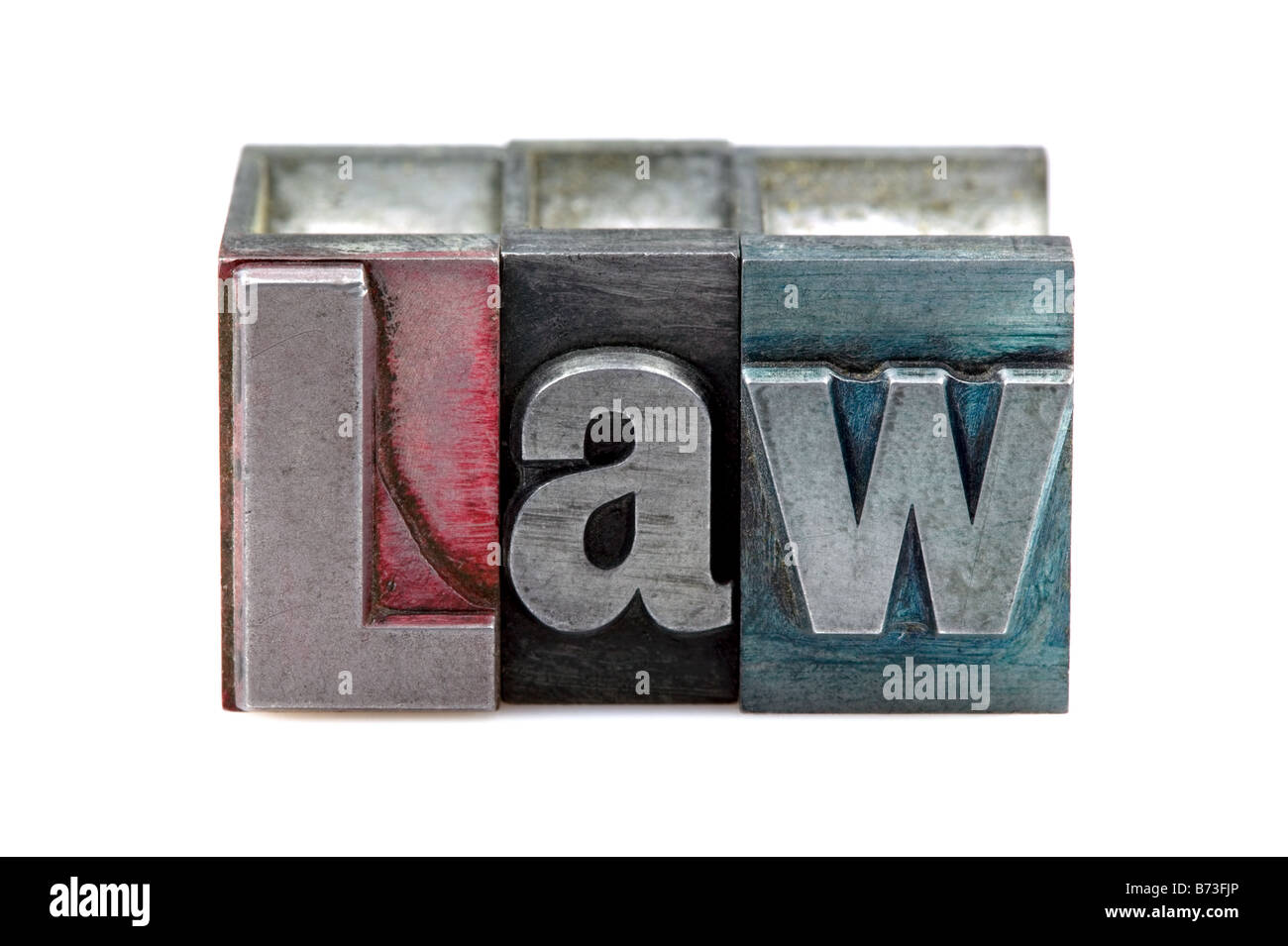 The word Law in old letterpress printing blocks isolated on a white background - Stock Image