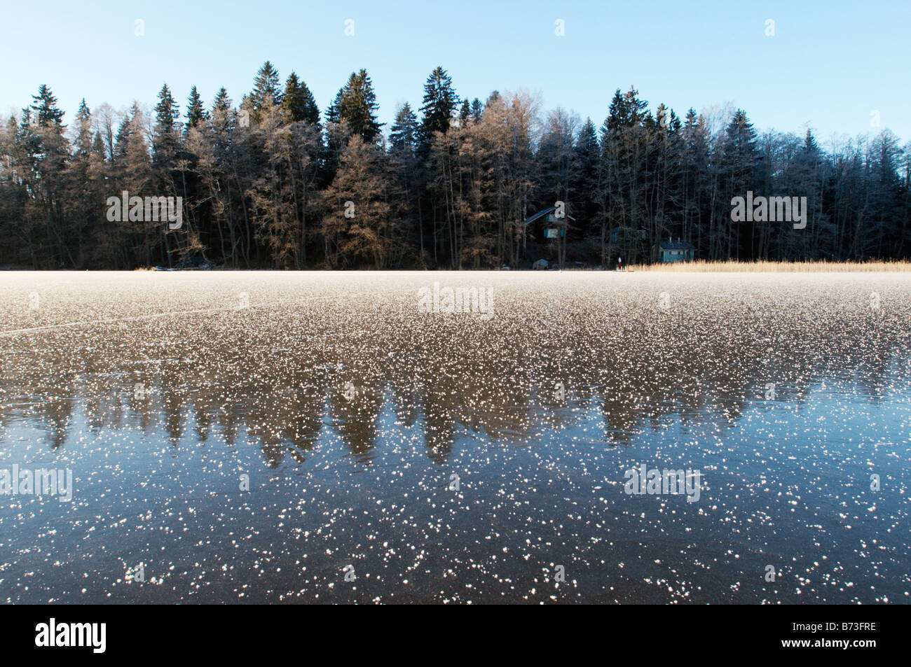 Summerhouse and sauna in woods by frozen lake, Lohja, Finland - Stock Image