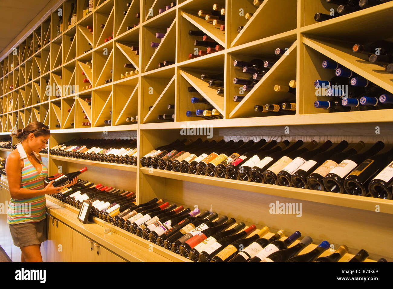 wine selection at the Los Olivos Cafe and Wine Merchant Los Olivos Santa Ynez Valley California United States of - Stock Image