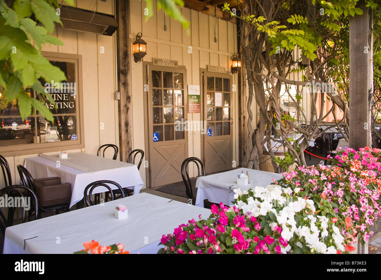 outdoor patio at the Los Olivos Cafe and Wine Merchant Los Olivos Santa Ynez Valley California United States of Stock Photo