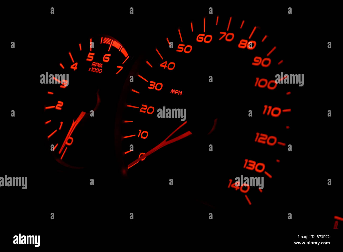 Speedometer and tachometer gauges from a car. Taken at 0 RPM and 0 MPH - Stock Image