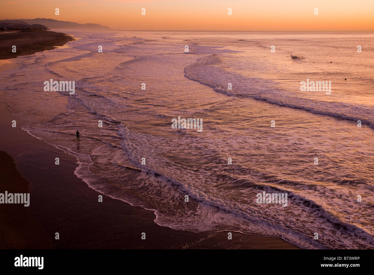 Ocean Beach at sunset well known surfers beach on the Pacific Ocean coast of San Francisco central north California - Stock Image