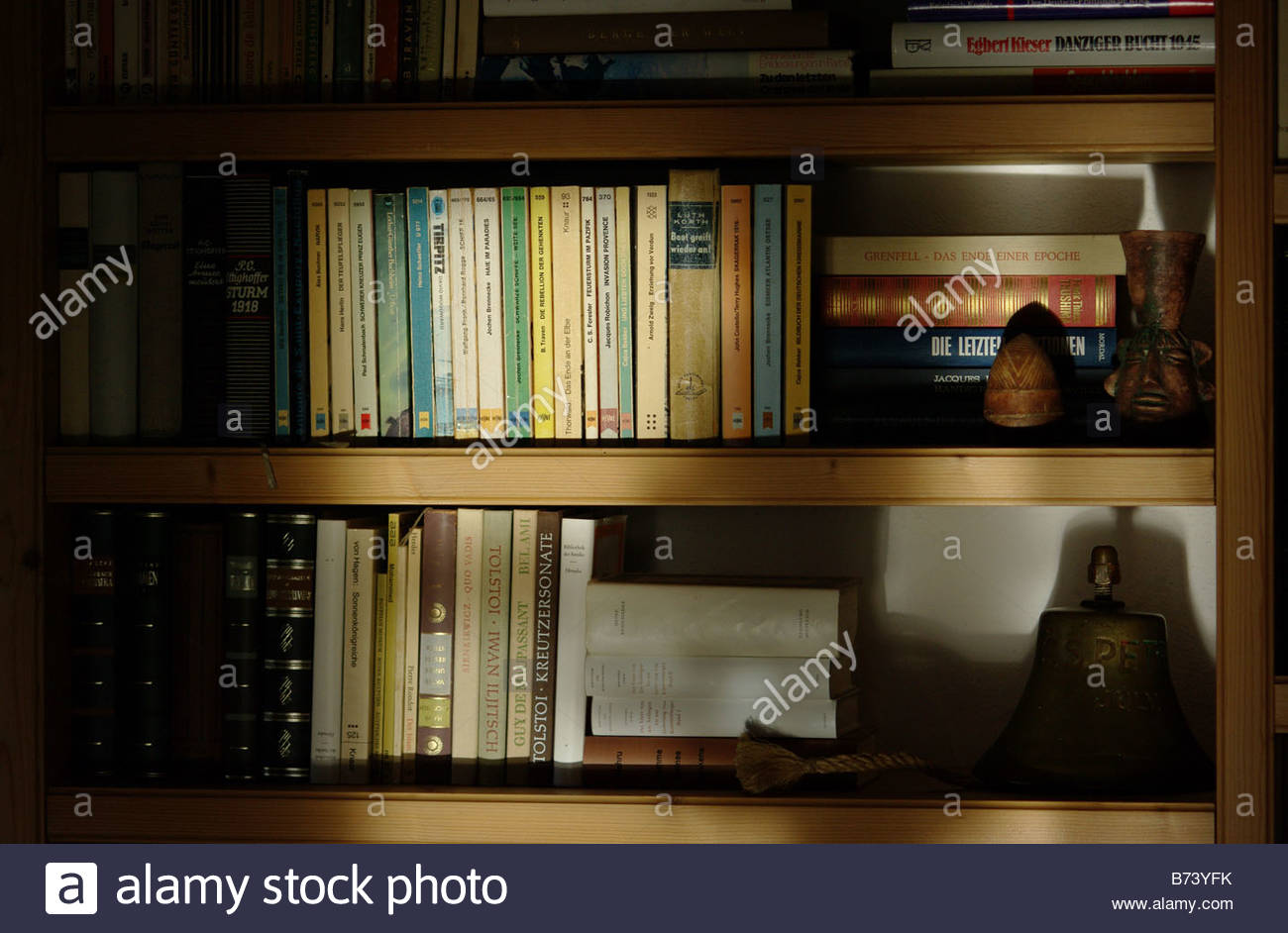 Europe, Germany, Bavaria, View Of Book Books On A Shelf Stock Photo