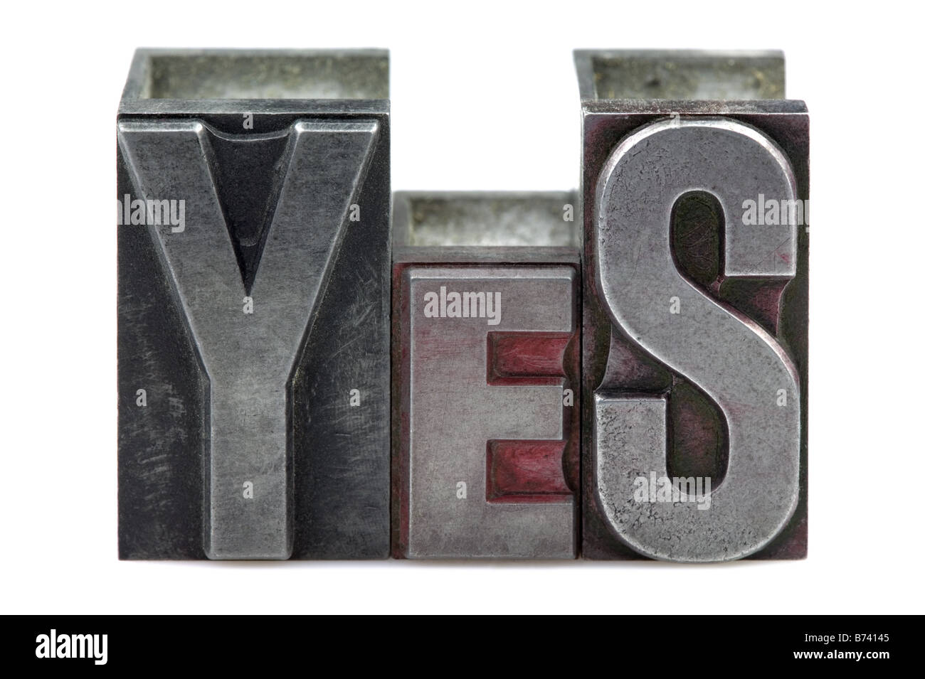 The word Yes in old letterpress printing blocks isolated on a white background - Stock Image