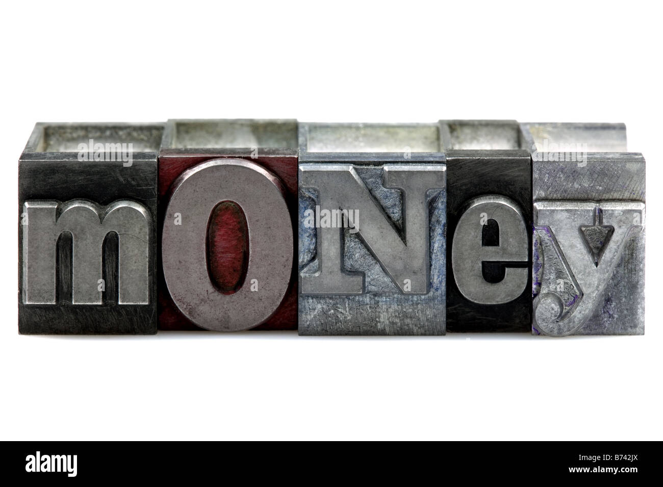 The word Money in old letterpress printing blocks isolated on a white background - Stock Image