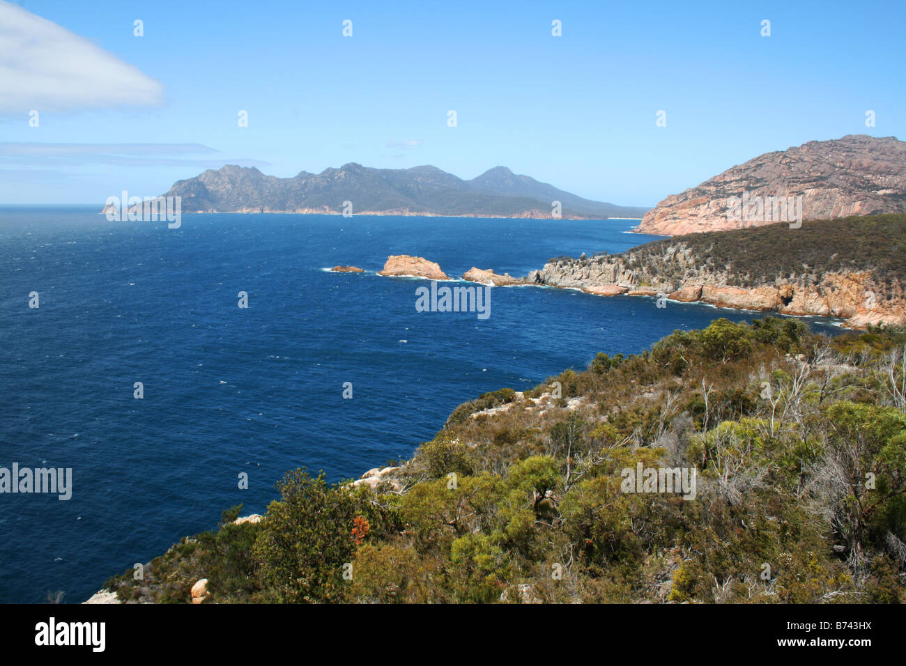 The Hazards, as viewed from the Freycinet lighthouse. - Stock Image