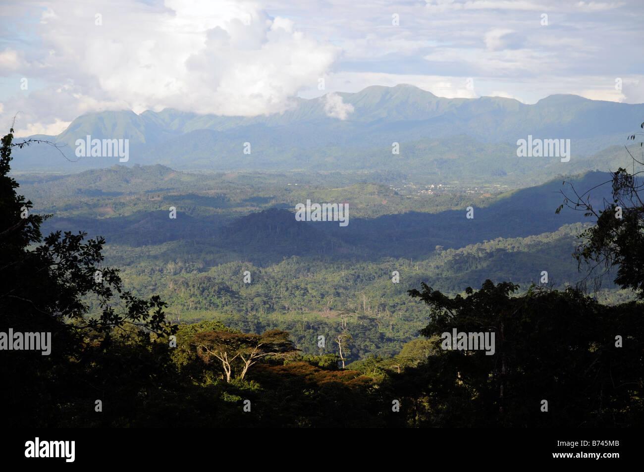 Nimba Mountain range World Heritage Site from the west Liberia - Stock Image