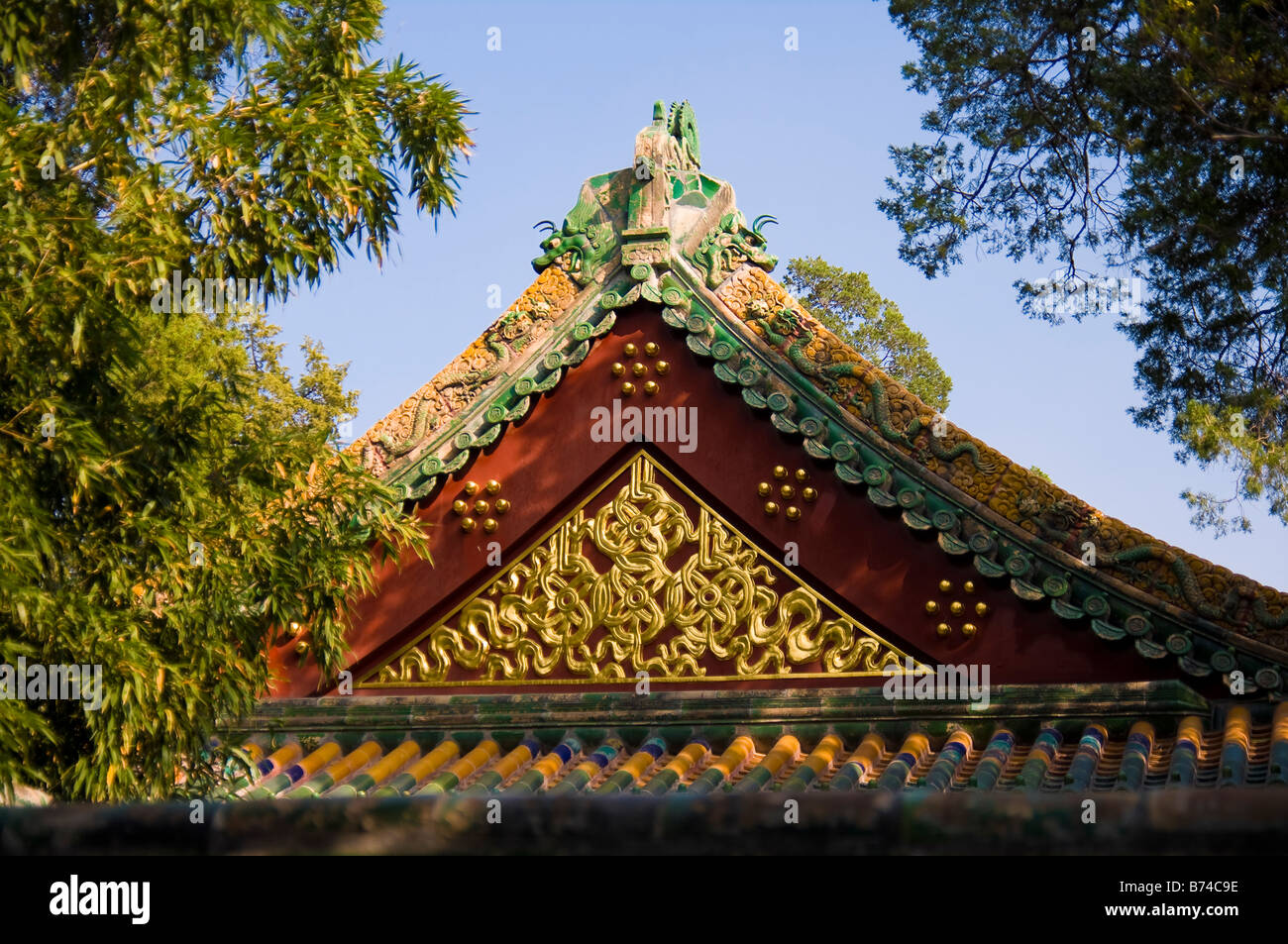 Heavenly Kings Temple Beihai Park Beijing P R of China - Stock Image