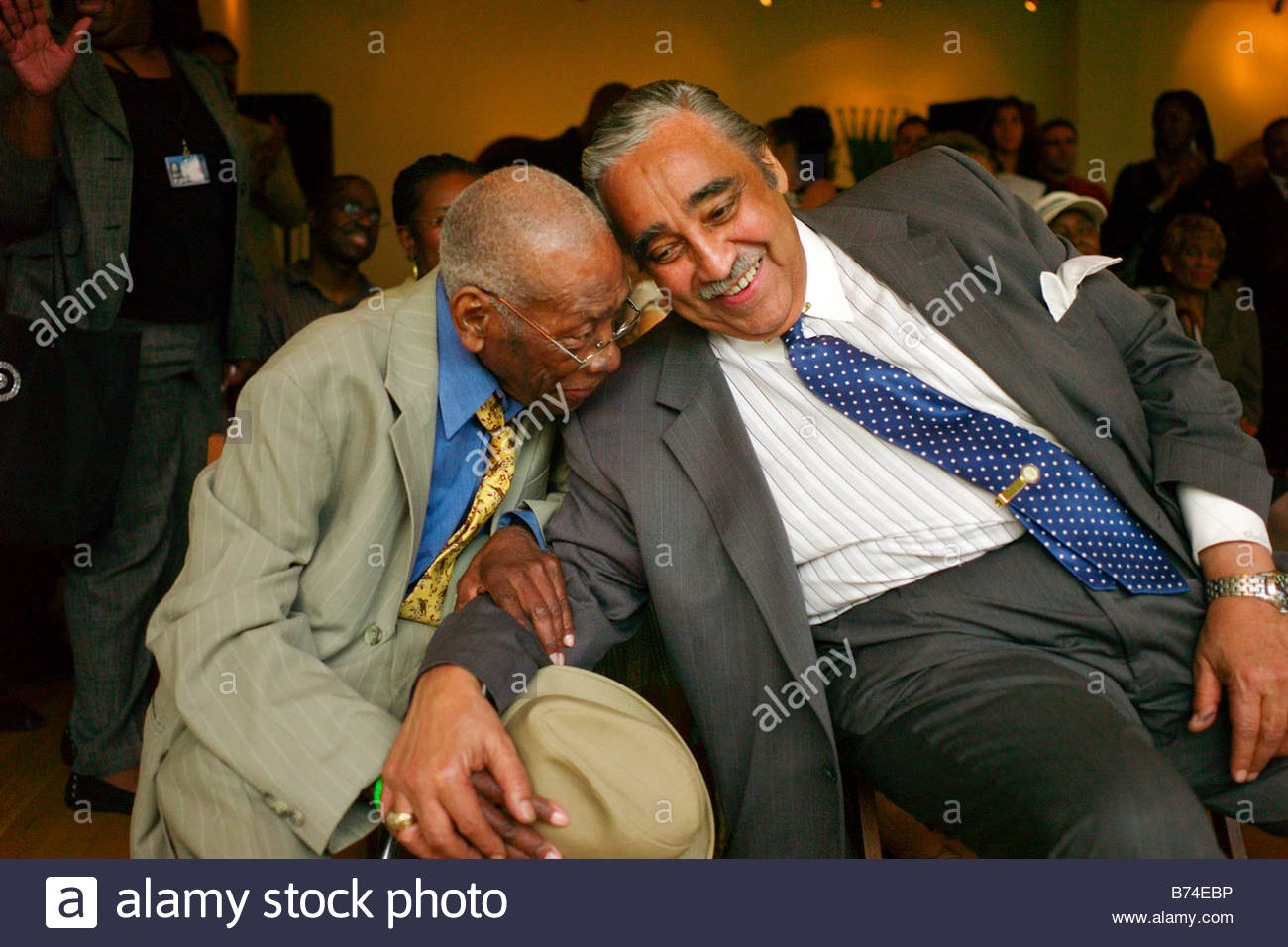 HARLEM May 31 Long time friends attorney Thornton Meecham 90 and House Ways and Means Chairman Charles B Rangel - Stock Image