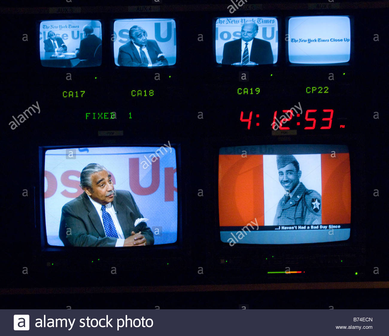 HARLEM May 31 Shown on screens in the production room House Ways and Means Chairman Charles B Rangel D N Y appears - Stock Image