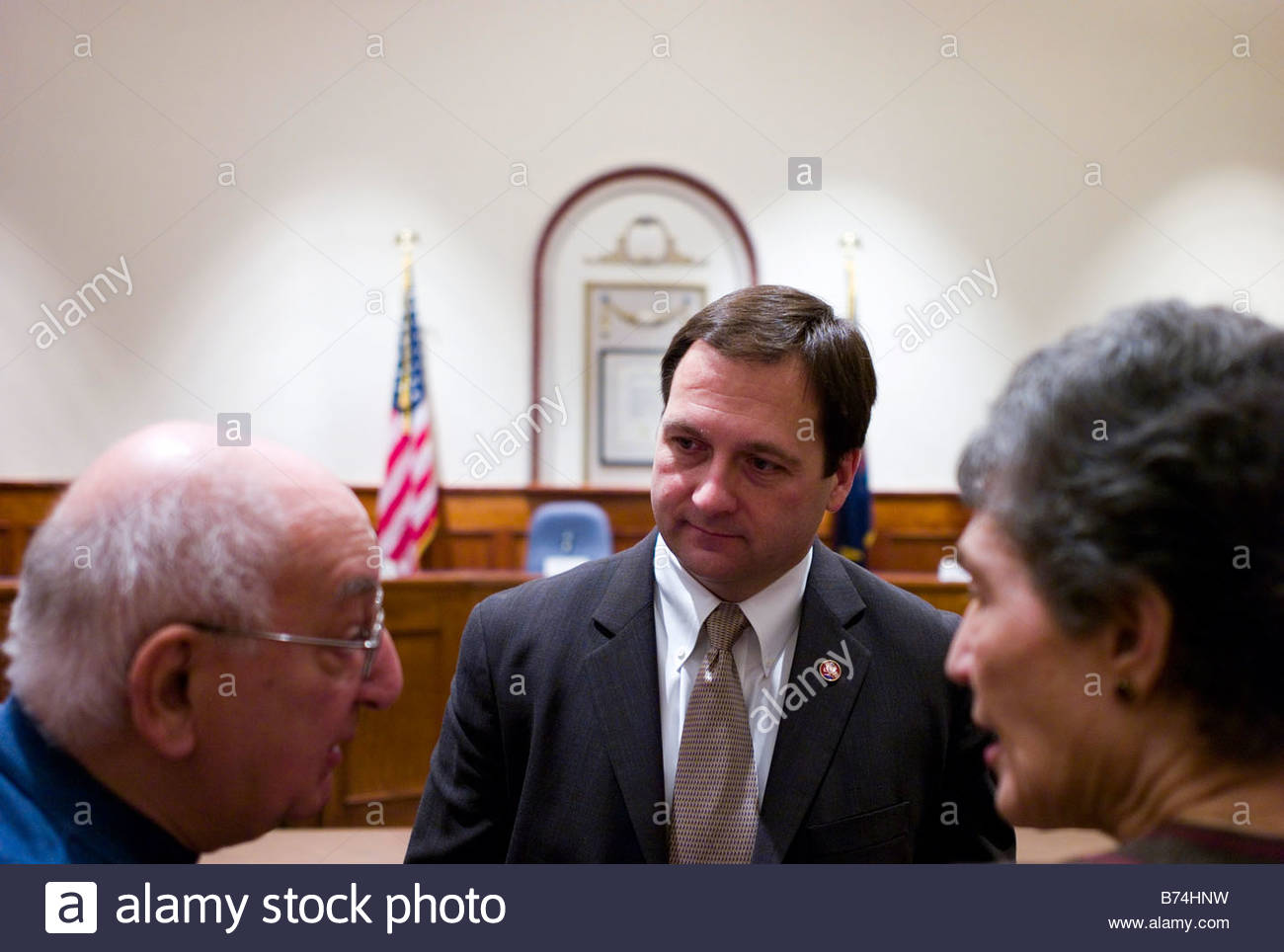 WILLIAMSPORT PA March 27 Albert and Susan Alexander talk with U S Rep Christopher P Carney D Pa at City Hall after - Stock Image