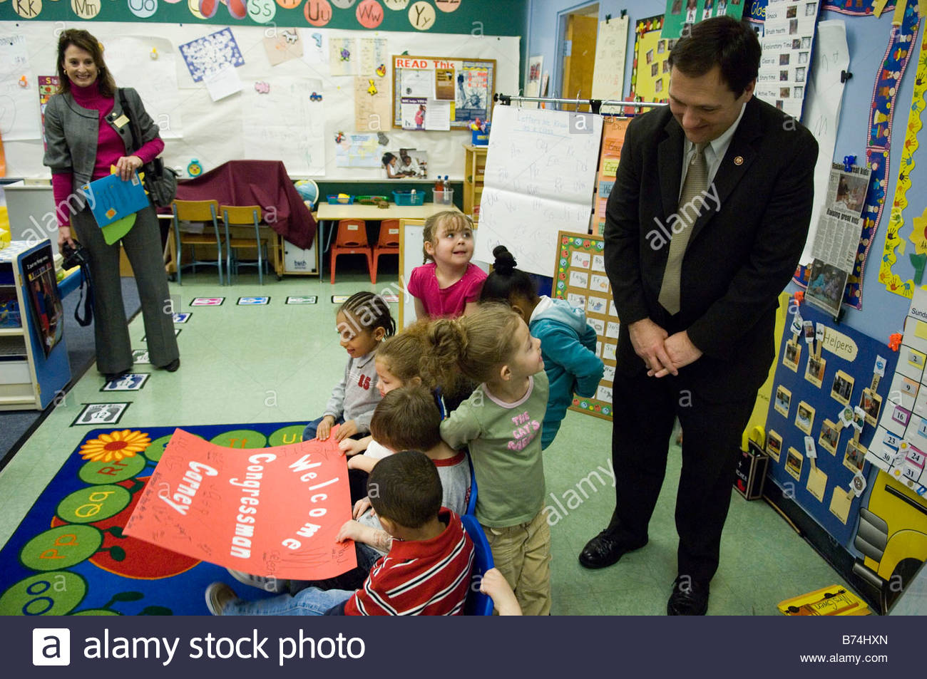 WILLIAMSPORT PA March 27 U S Rep Christopher P Carney D Pa during a visit to a Head Start classroom in the Ascension - Stock Image