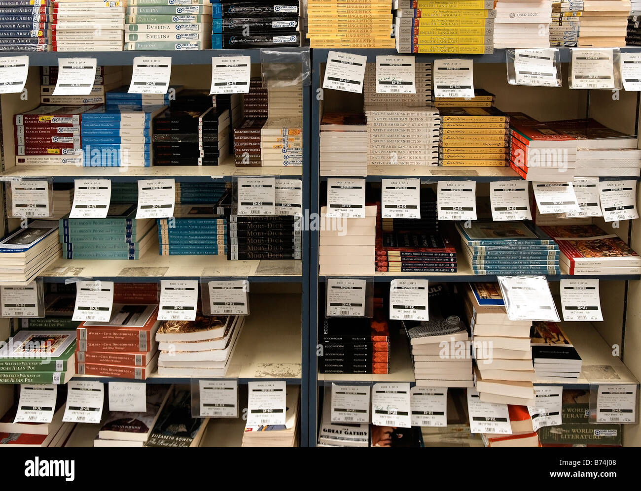 College textbooks for sale in a school bookstore - Stock Image