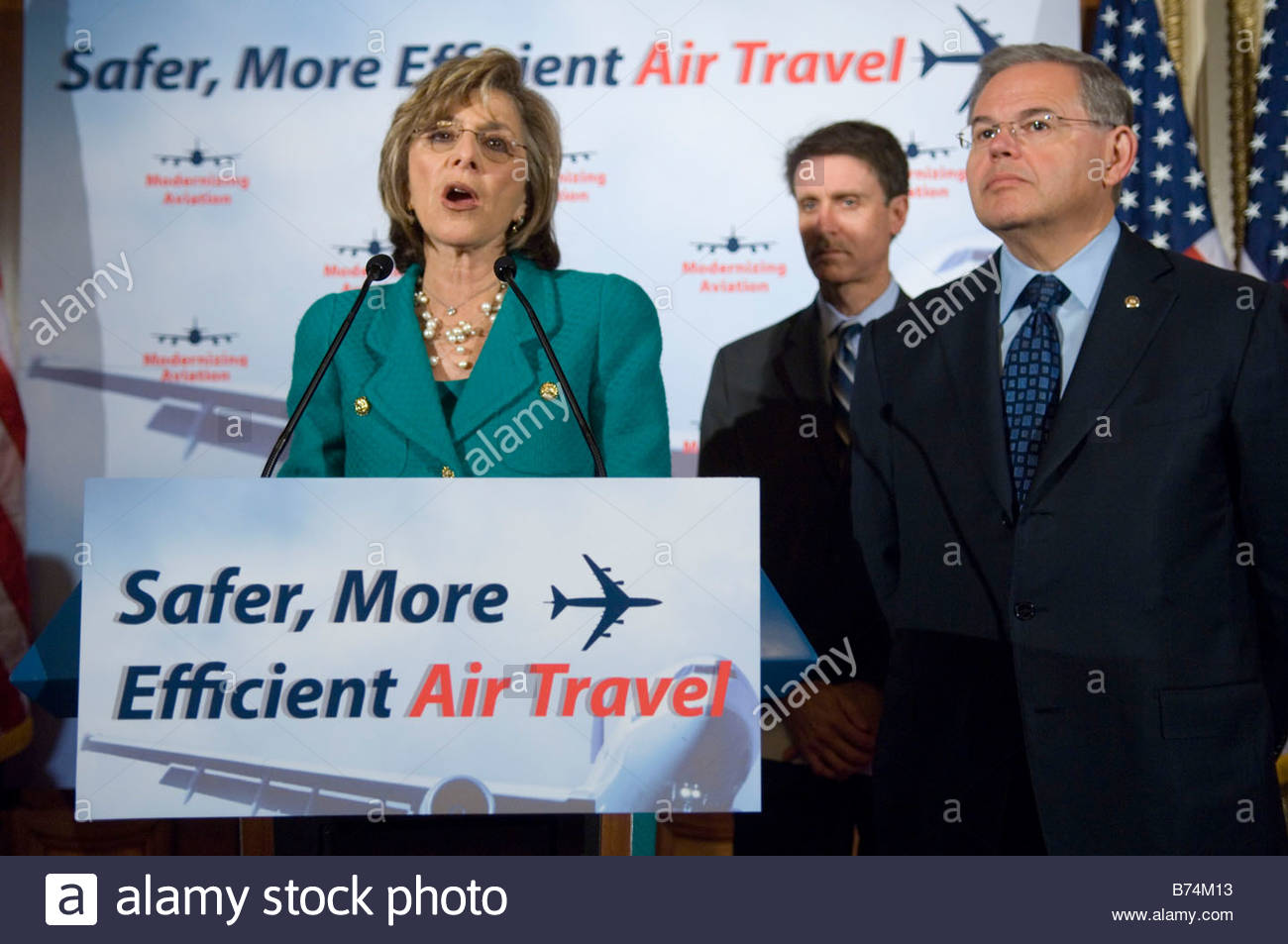 WASHINGTON DC April 30 Sen Barbara Boxer D Calif Edward Wytkind president of the Transportation Trades Department - Stock Image
