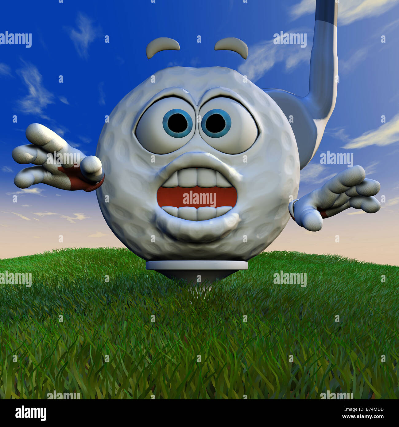 Cartoon golf ball who is about to be driven on to the course is scared - Stock Image