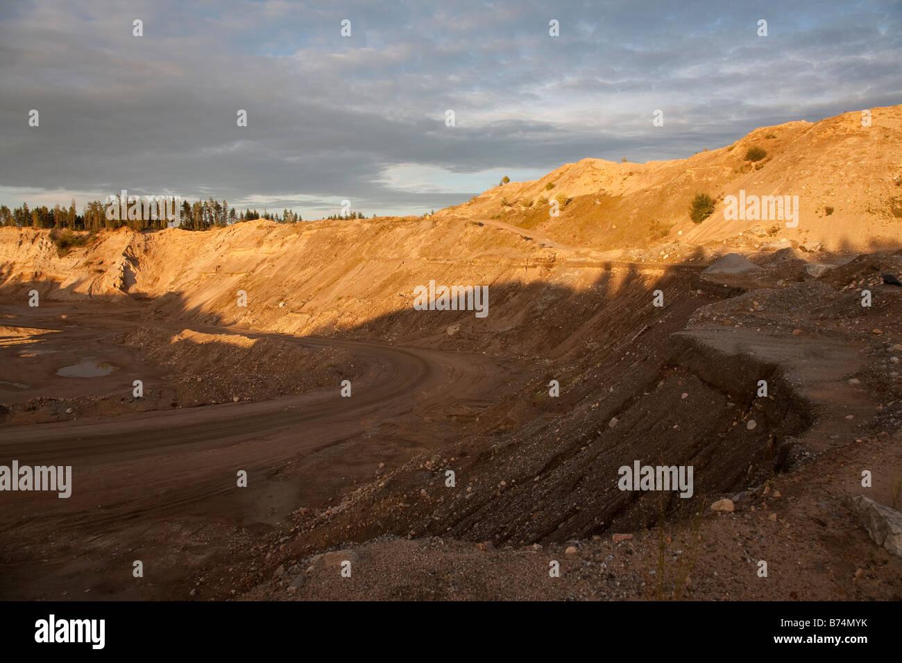 Large gravel pit on sandy ridge / esker , Finland - Stock Image