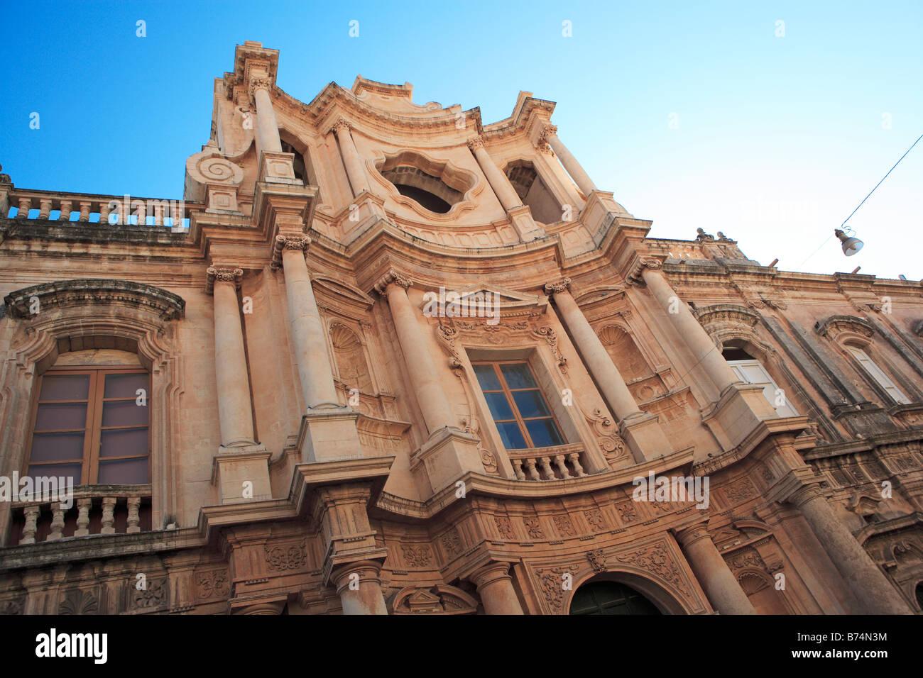 Jesuit Church of San Carlo, Noto, Sicily - Stock Image