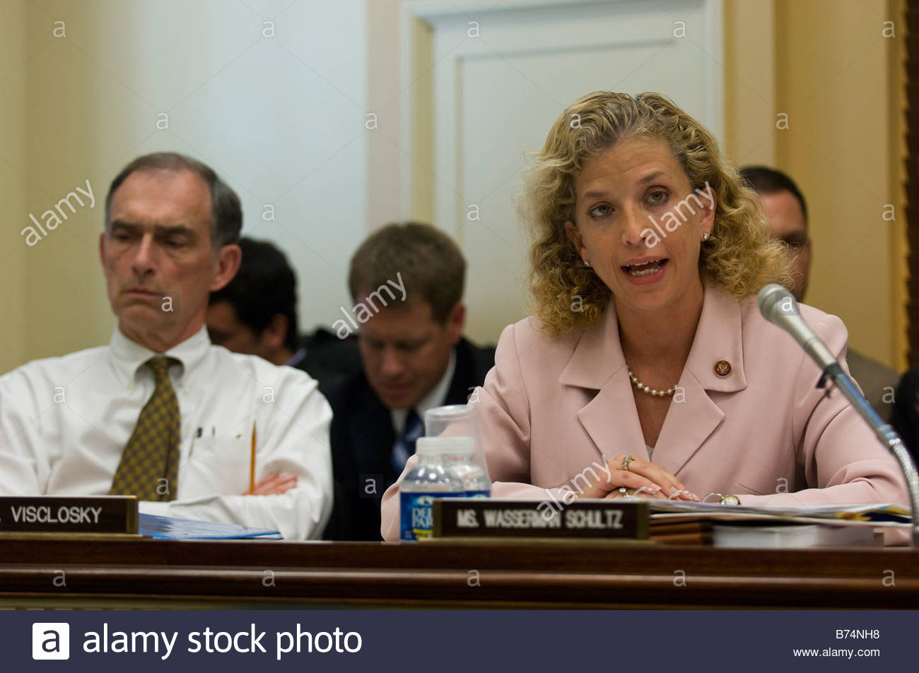 WASHINGTON DC June 17 Rep Peter J Visclosky D Ind and Rep Debbie Wasserman Schultz D Fla during the House Appropriations - Stock Image