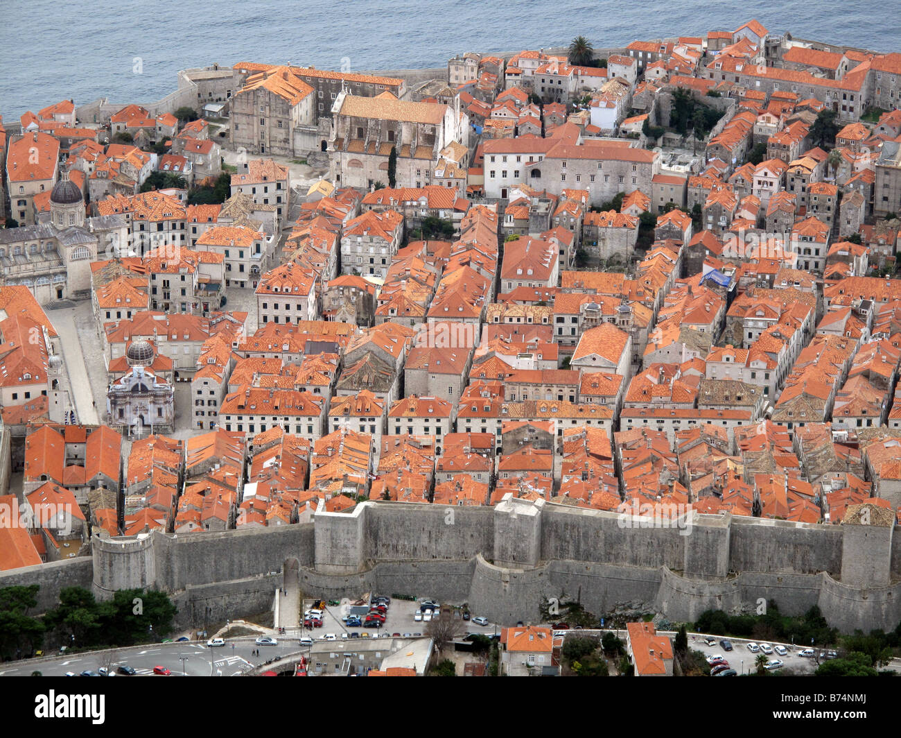A view of the rooftops and city walls of the old town of Dubrovnik in Croatia on the Adriatic Coast in Eastern Europe. - Stock Image