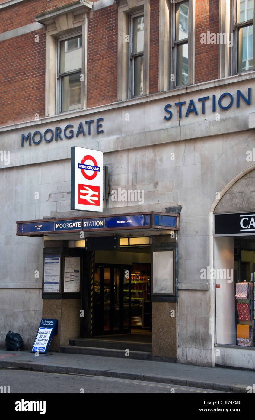 Entrance to Moorgate underground station, London, UK - Stock Image