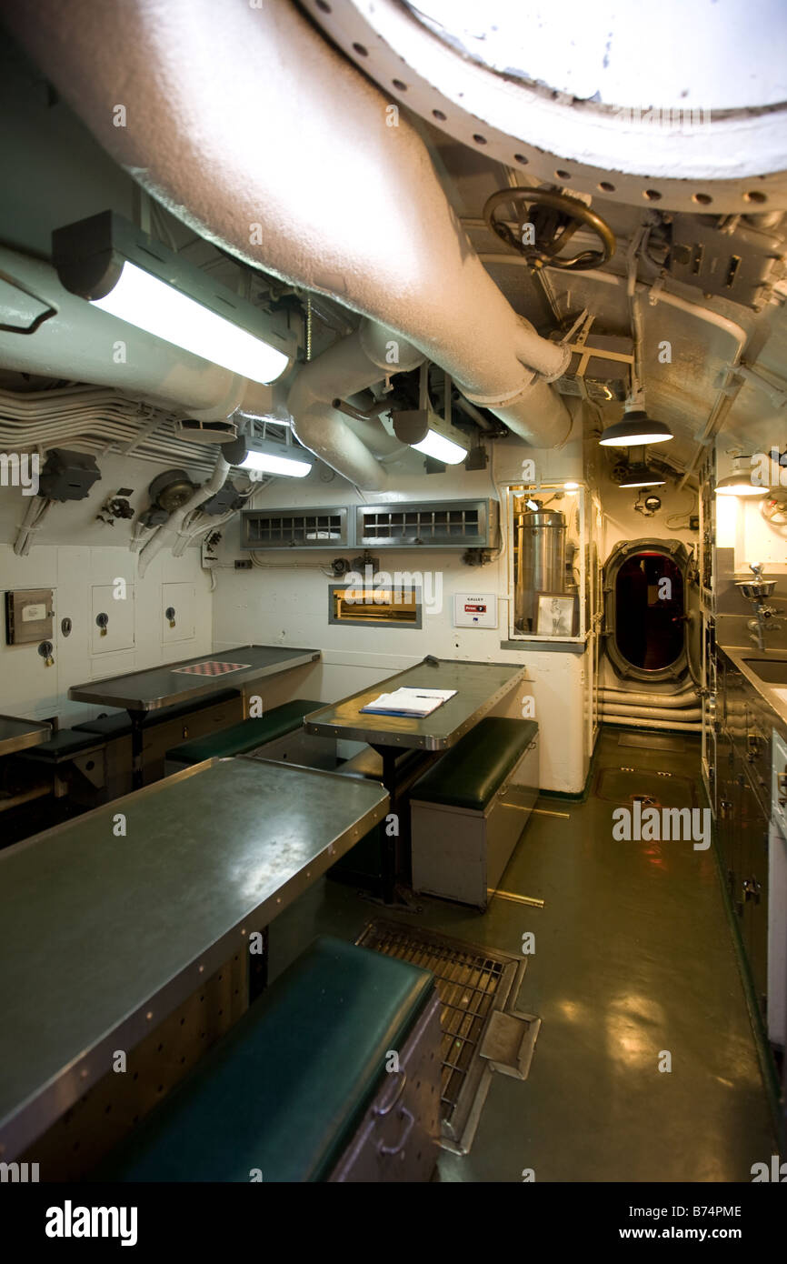 Mess Hall or Dining room aboard USS Pampanito - Stock Image