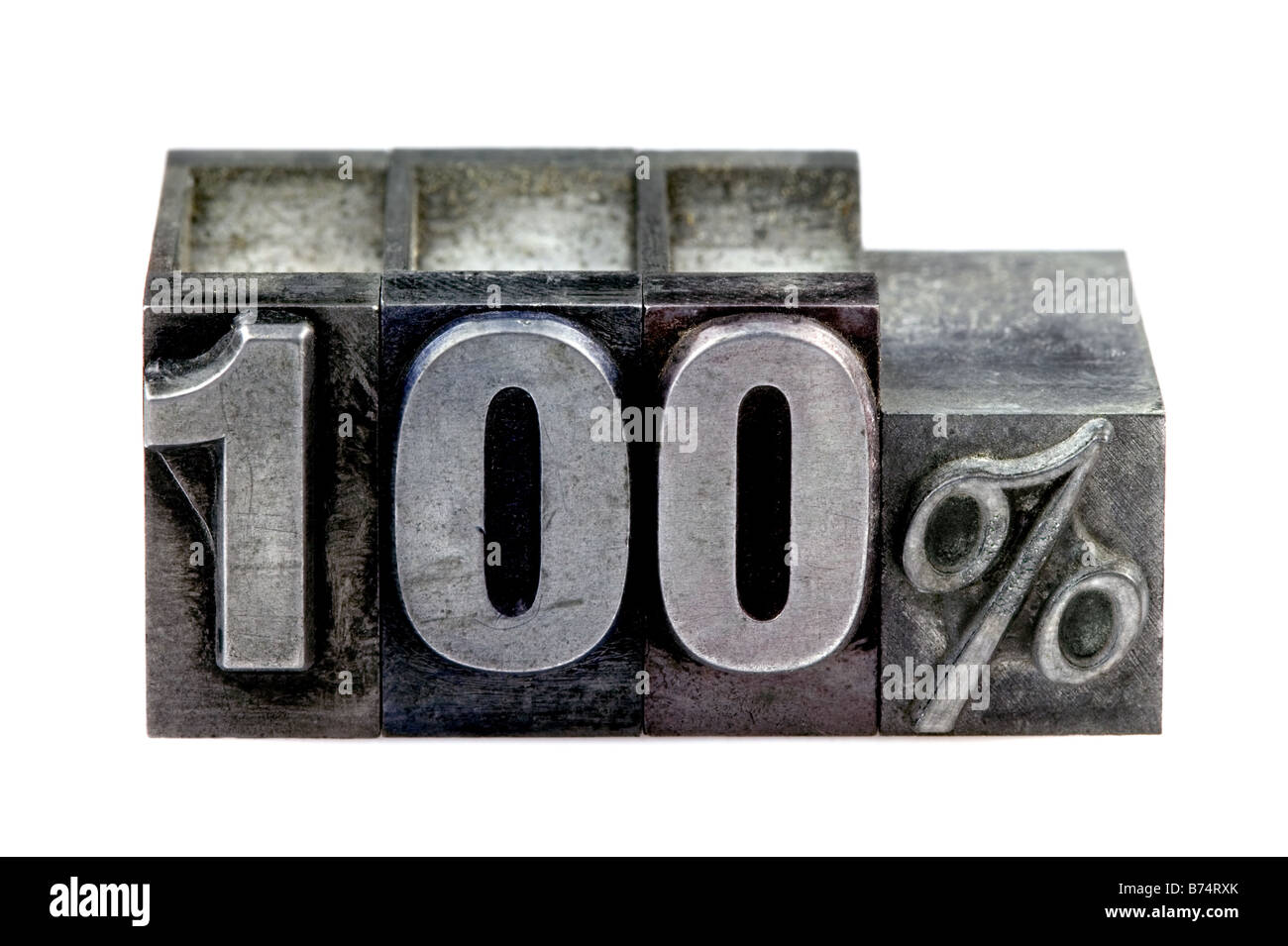 The term 100 in old letterpress printing blocks isolated on a white background - Stock Image