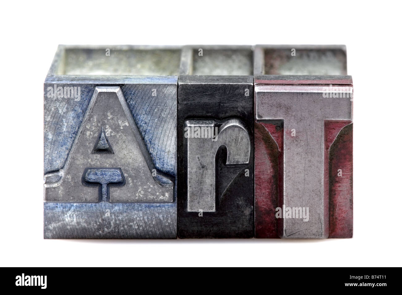 The word Art in old letterpress printing blocks isolated on a white background - Stock Image