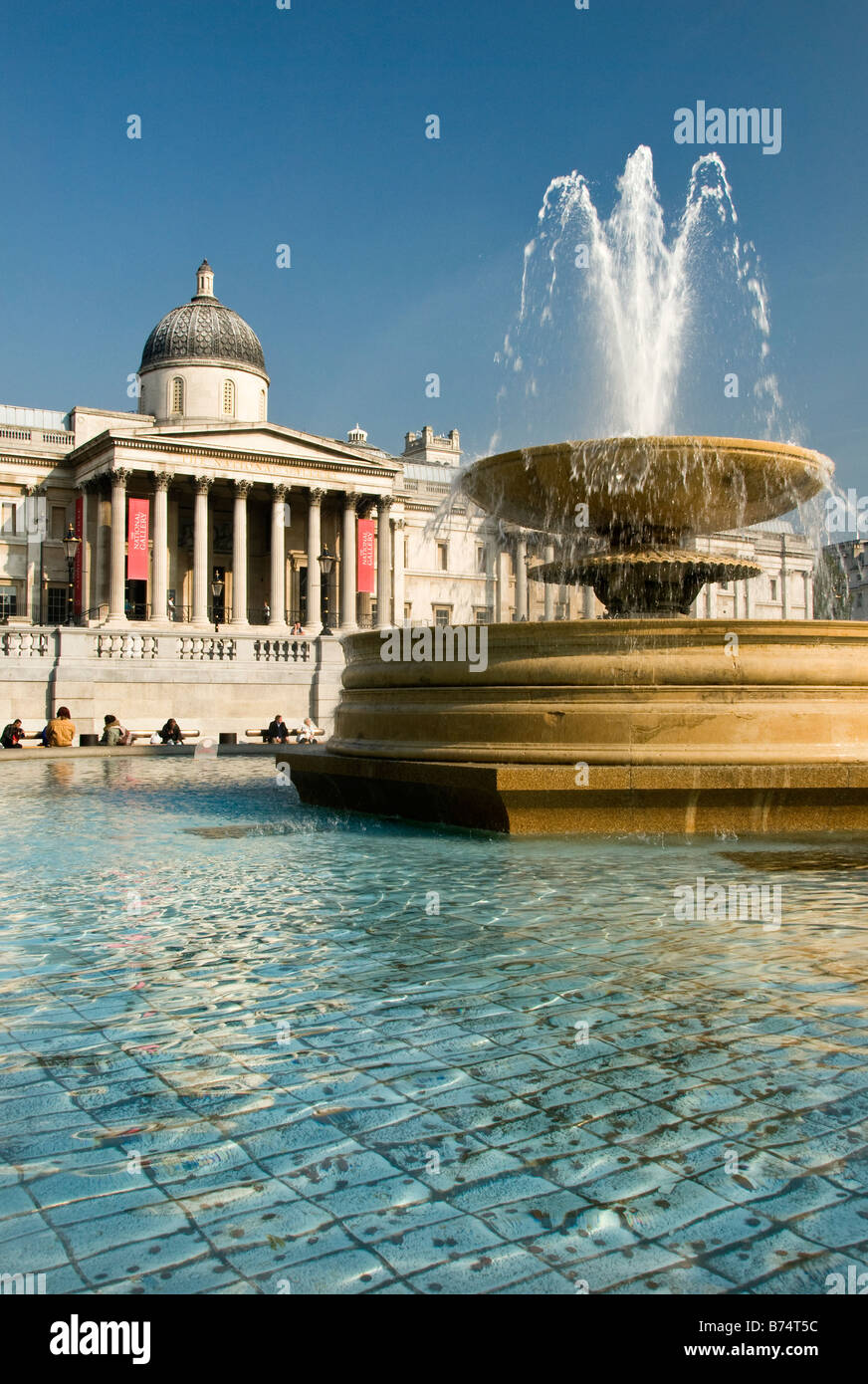 View across the Trafalgar square to the National Gallery, London, UK Stock Photo