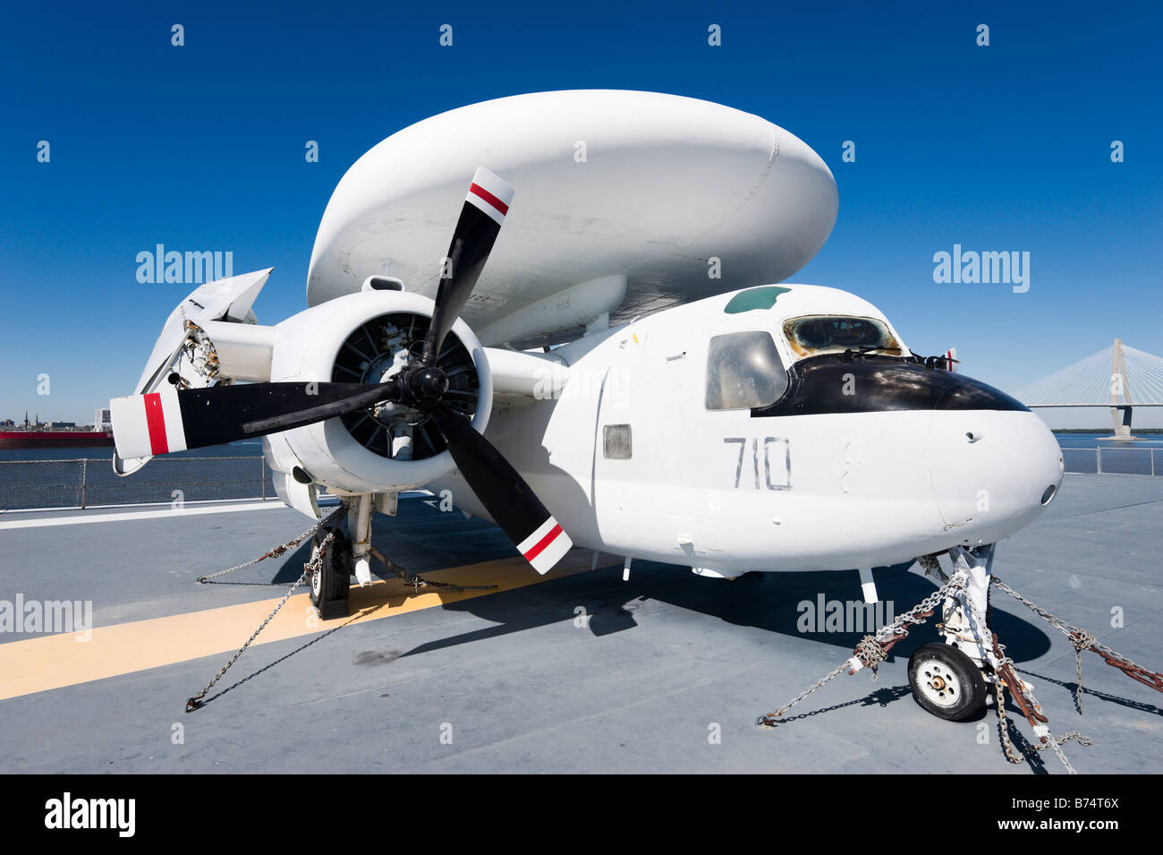 E-1B Tracer airborne early warning aircraft on deck of USS Yorktown aircraft carrier, Patriots Point Naval Museum, - Stock Image
