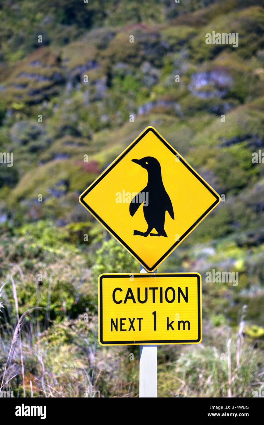 New Zealand, South Island, Punakaiki, Caution: penguins. - Stock Image