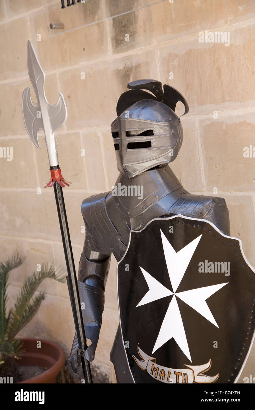 Suit of armor in The Grand masters Palace, Malta - Stock Image