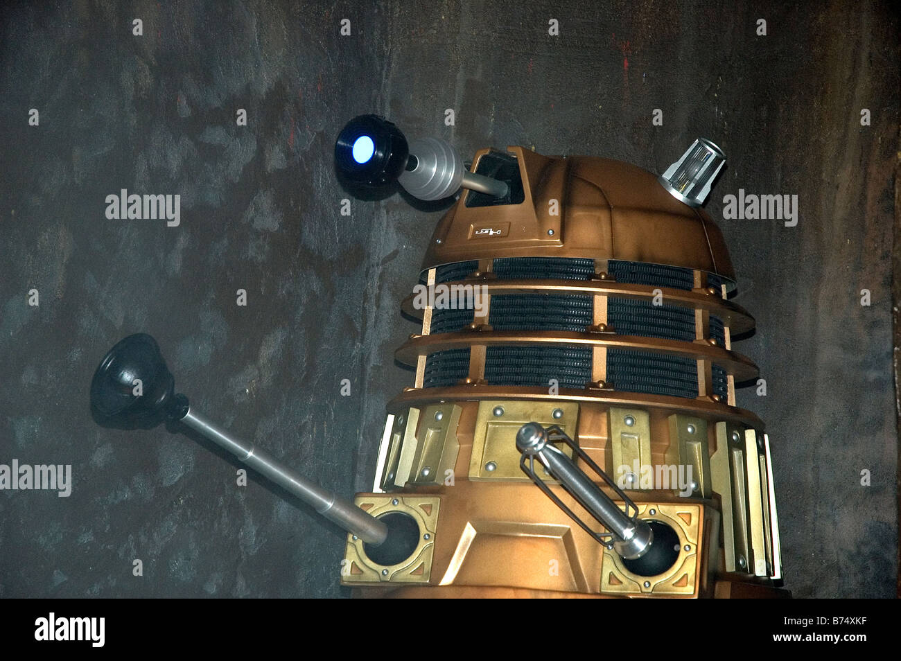 a golden dalek at a dr.who exhibition at lands end in cornwall,uk - Stock Image