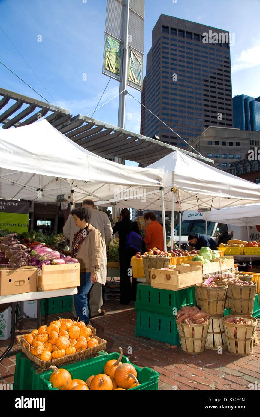 City Hall Plaza Farmers Market in downtown Boston Massachusetts USA - Stock Image
