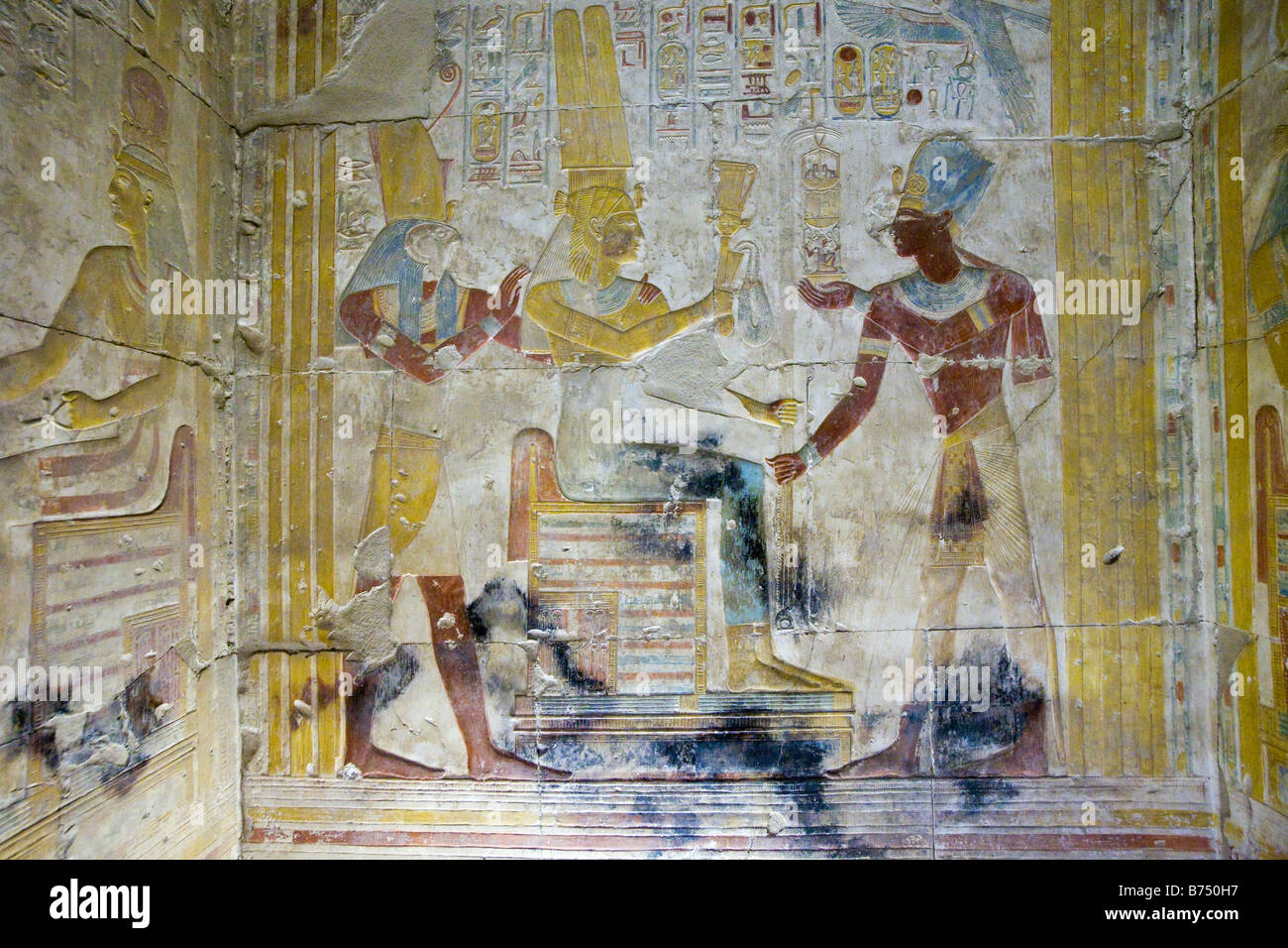Relief work from the Temple of Seti I at Abydos, Nile Valley Egypt - Stock Image