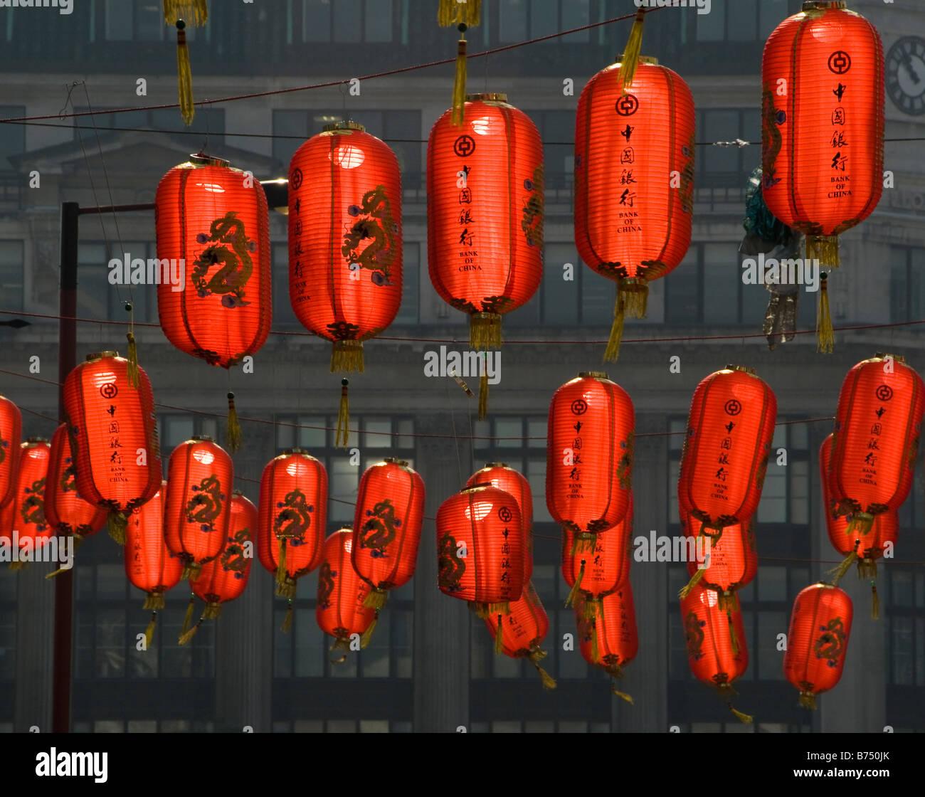 Colourful lanterns in Chinatown, London, UK Stock Photo