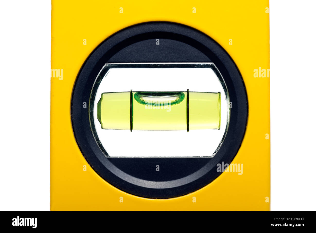 Yellow spirit level and closeup of the bubble - Stock Image