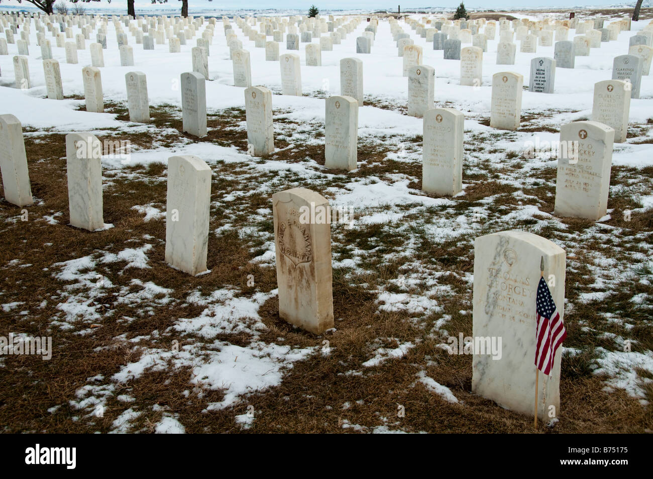 Headstones, Custer National Cemetery, Little Bighorn Battlefield National Monument, Crow Agency, Montana. Stock Photo