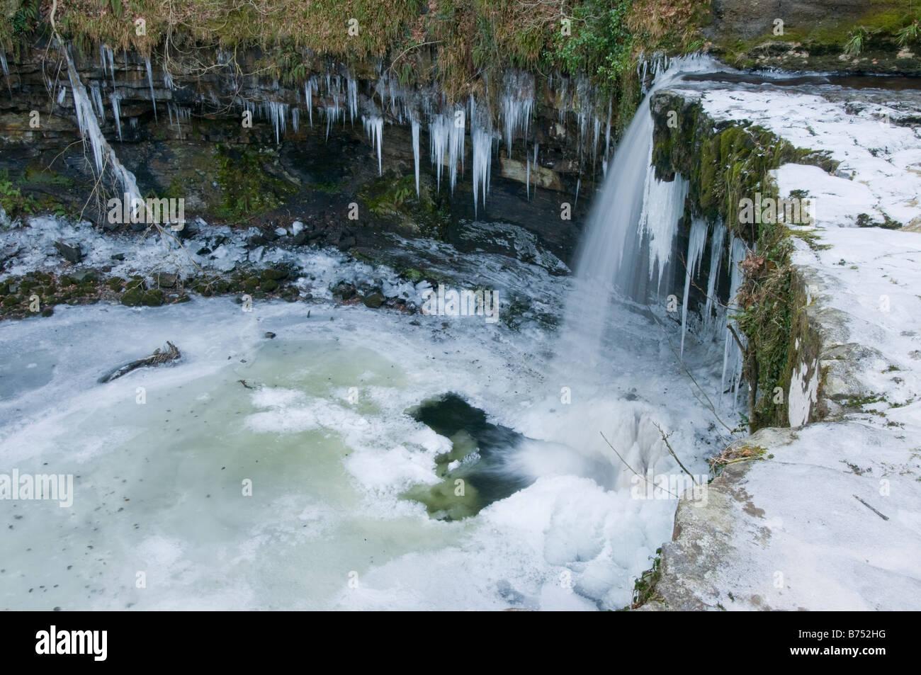 Sgwd Gwladys falls on the Afon Pyrddin after a winter cold snap. Stock Photo
