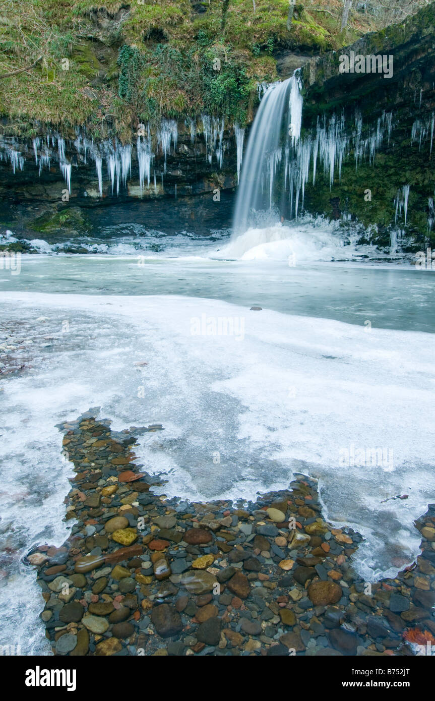 Sgwd Gwladys on the Afon Pyrddin after a winter cold snap. Stock Photo