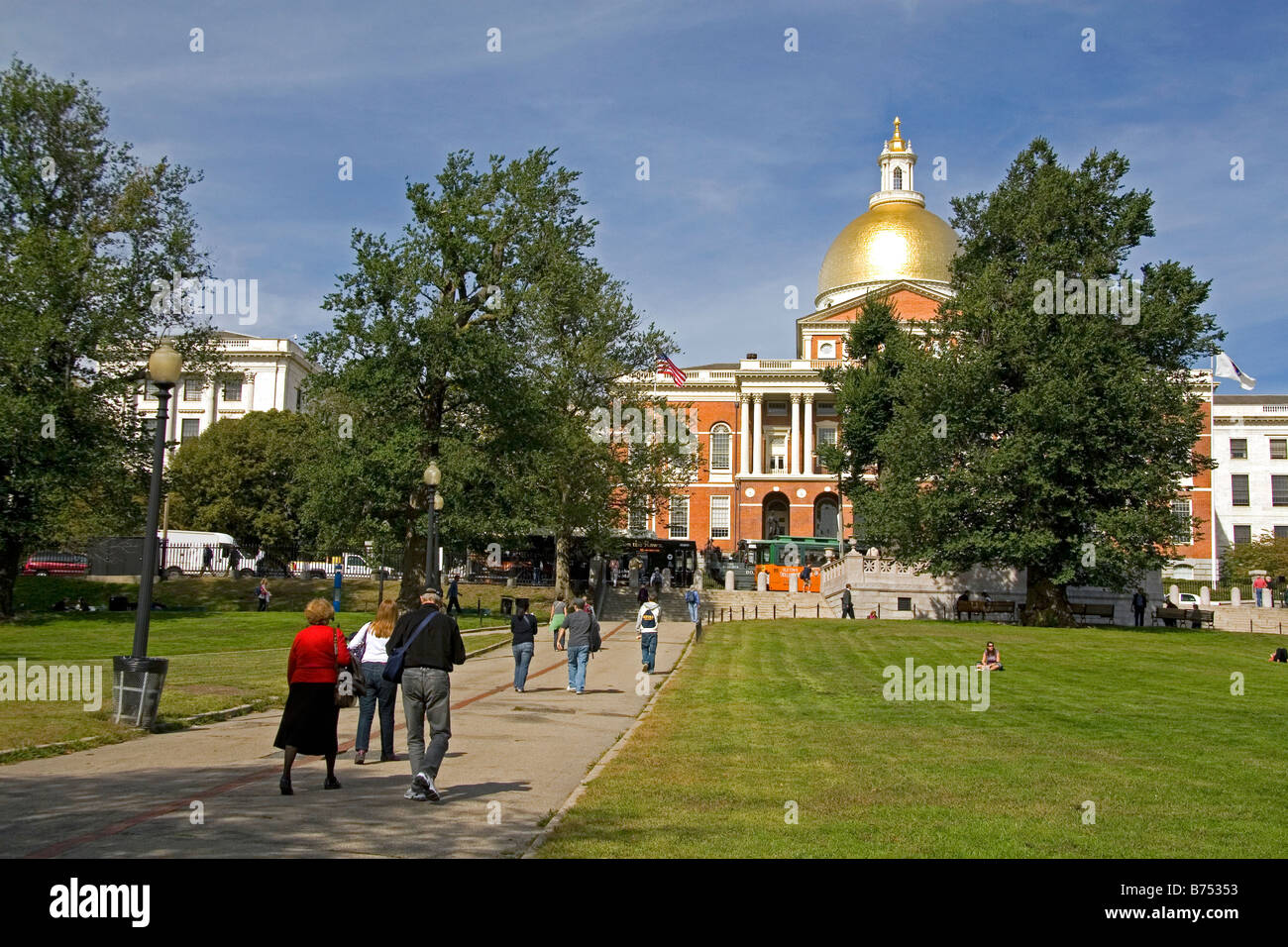 The Massachusetts State House and Boston Common located in the Beacon Hill neighborhood of Boston Massachusetts - Stock Image