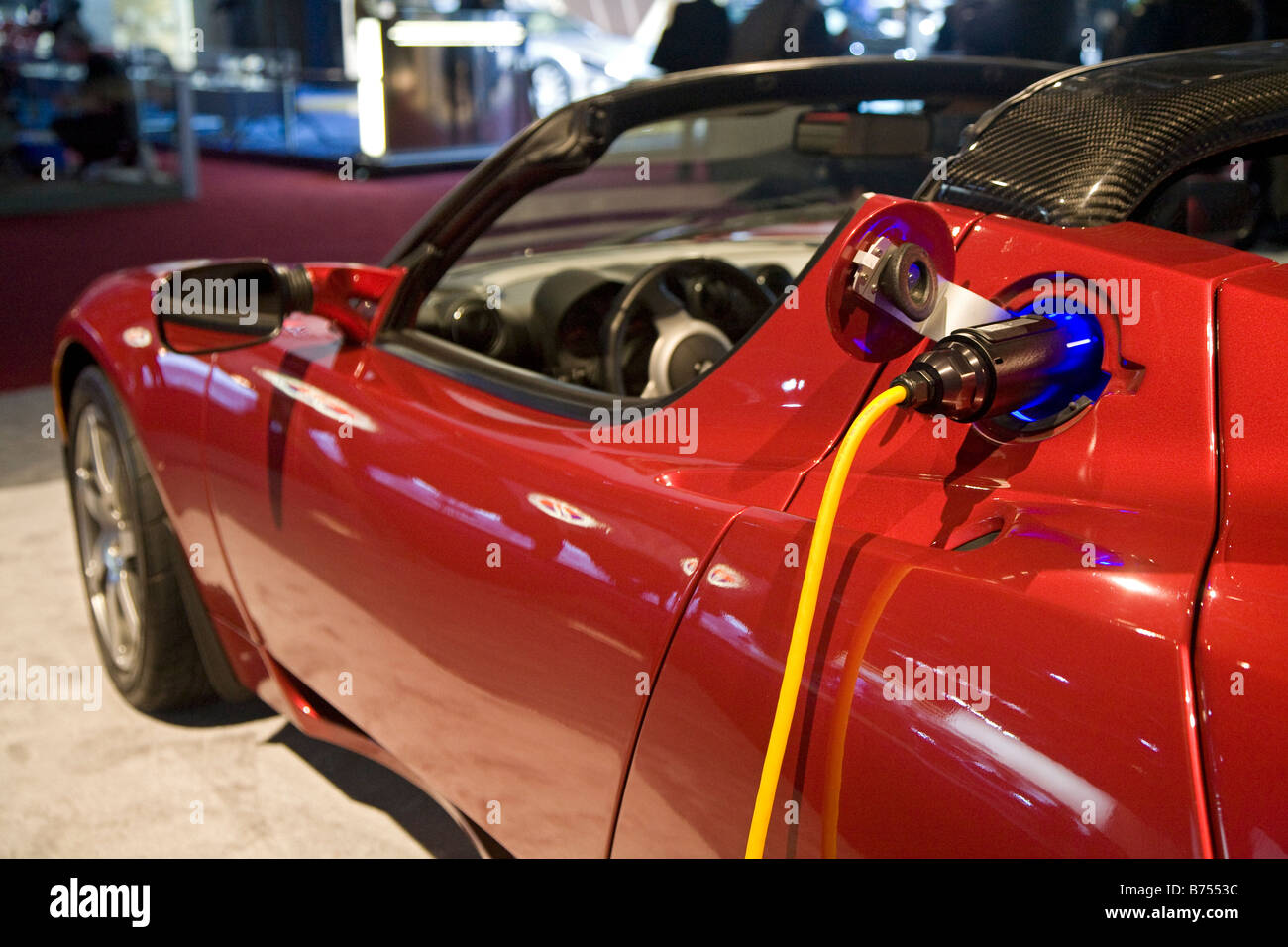 Detroit Michigan The Tesla Roadster electric vehicle on display at the North American International Auto Show - Stock Image