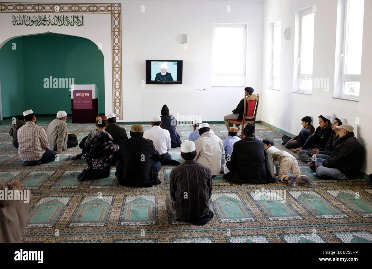 Prayer room at Khadija Mosque Berlin - Stock Image