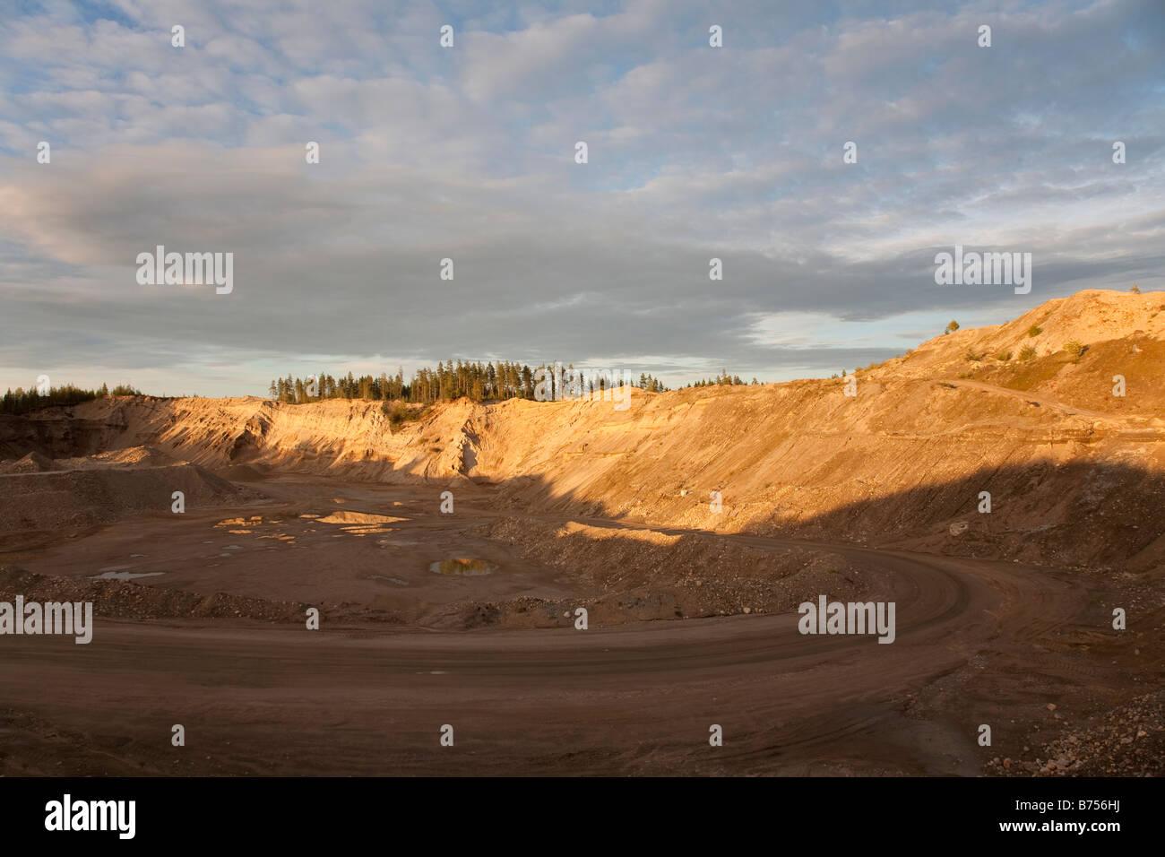 Large gravel pit , Finland - Stock Image