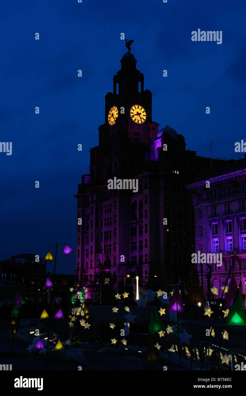 Liverpool Liver Building and Capital of Culture 08 Transition Event - Stock Image
