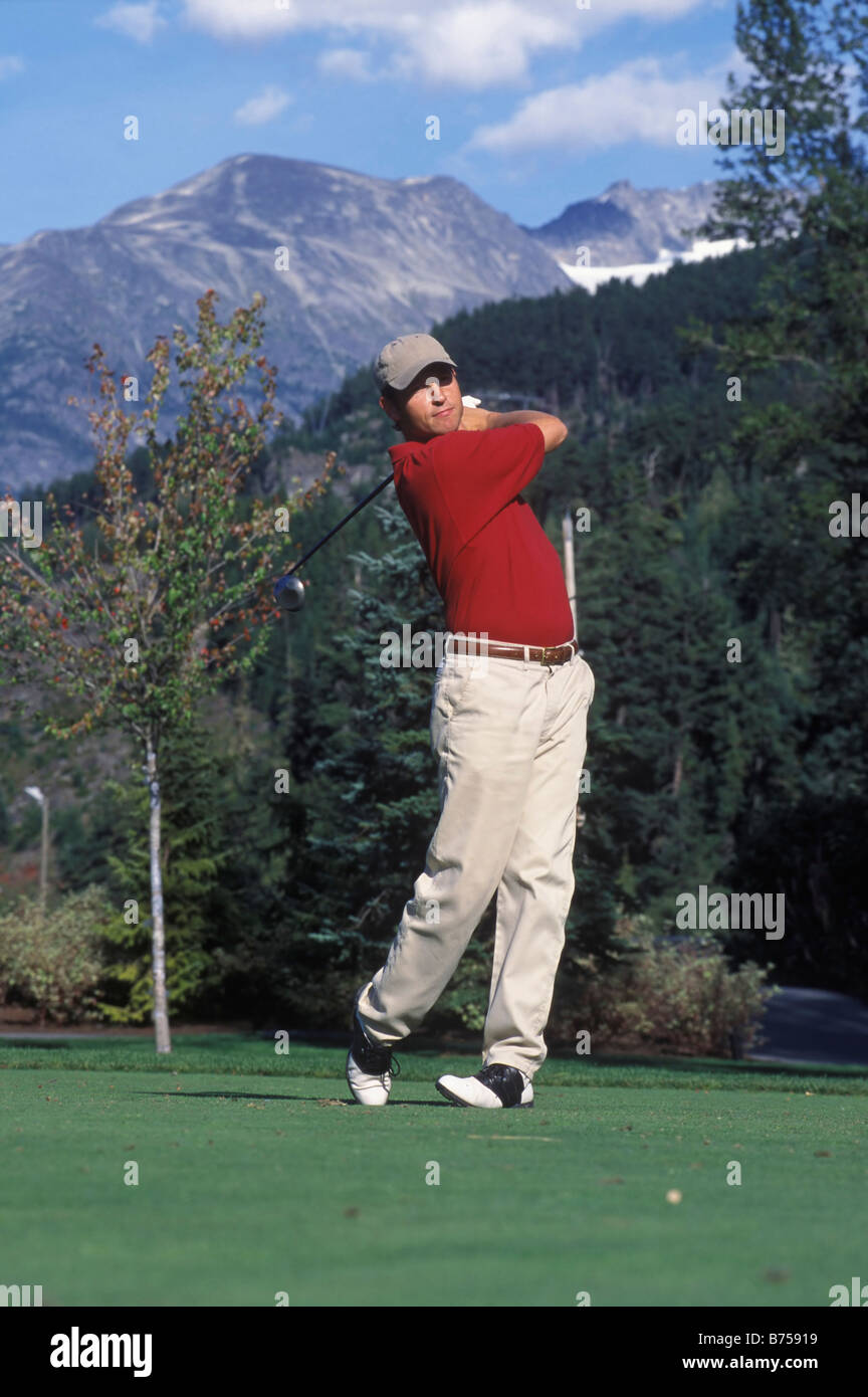Golfing, Whistler, BC, Canada - Stock Image
