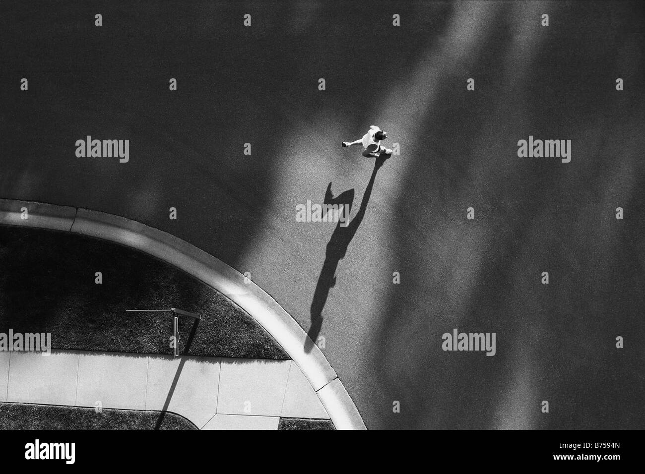 High angle view of a man running - Stock Image