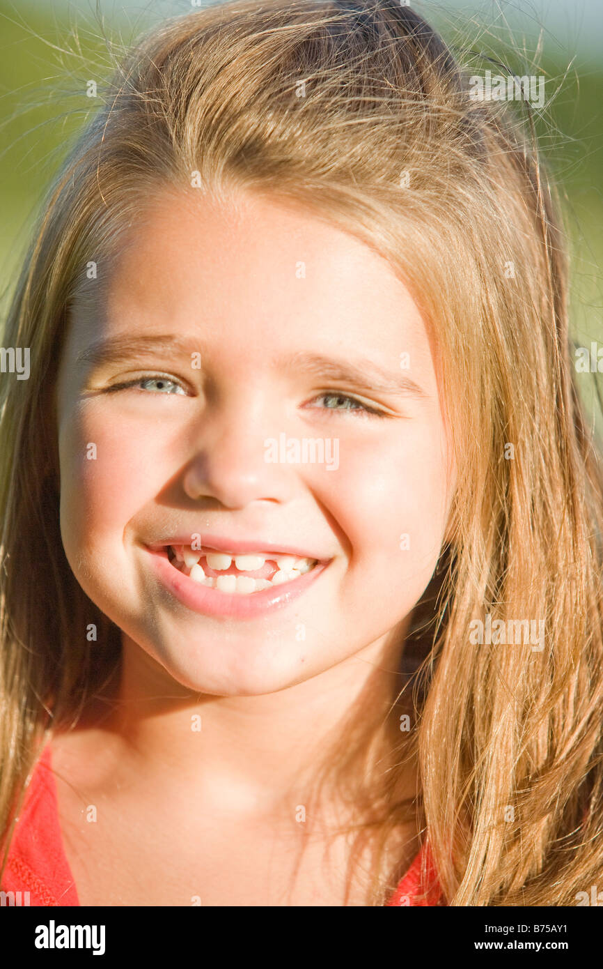 Portrait of six year old girl, Winnipeg, Manitoba, Canada - Stock Image