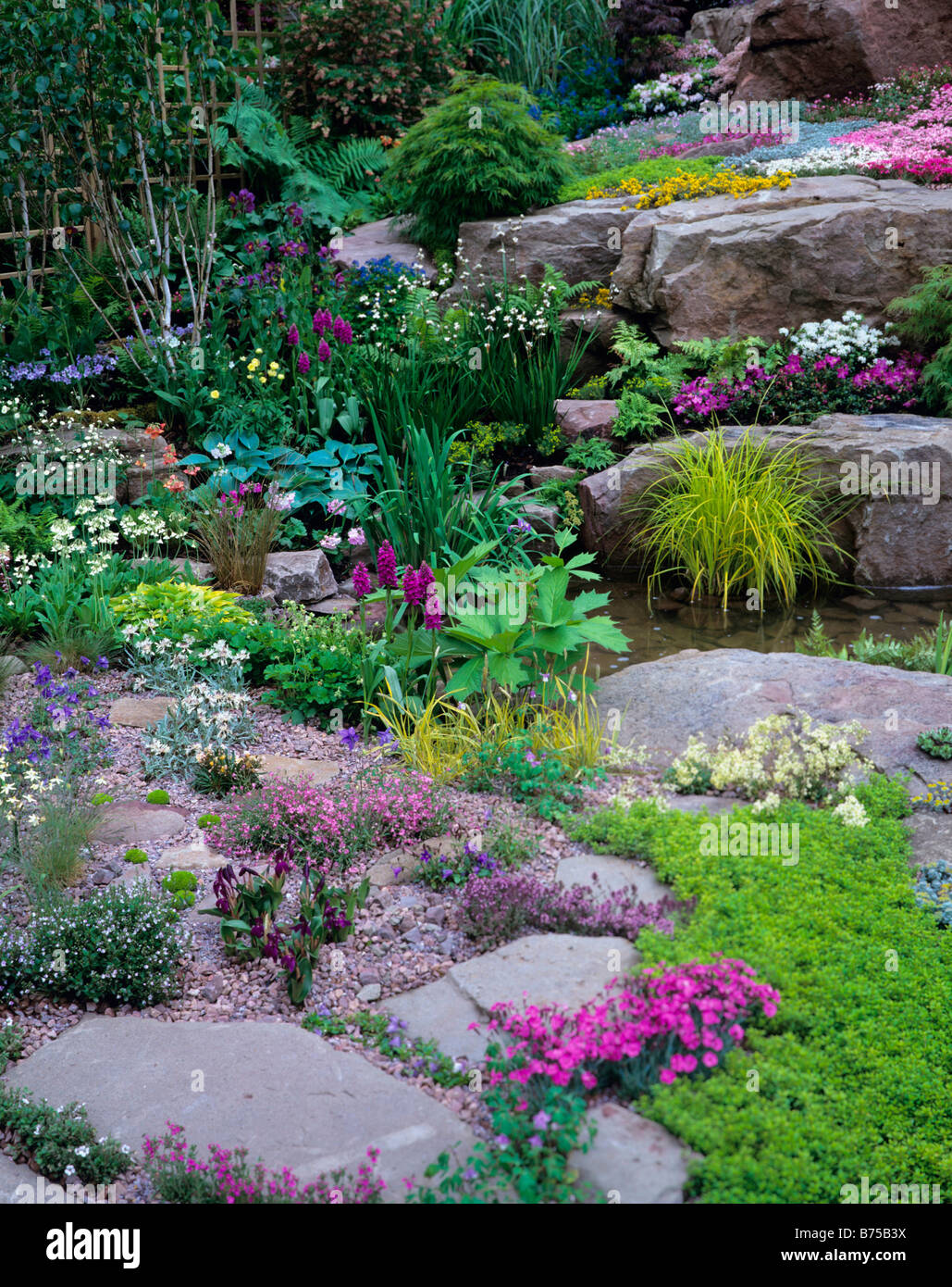 Colourful alpine rockery with pool - Stock Image
