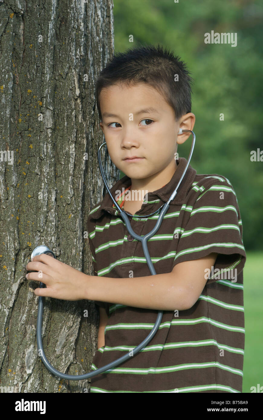Seven year old boy with stethescope placed on tree, Winnipeg, Canada - Stock Image