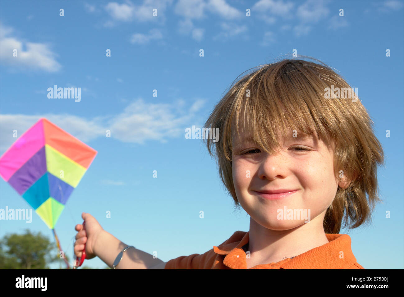 Six year old boy with kite, Winnipeg, Canada - Stock Image